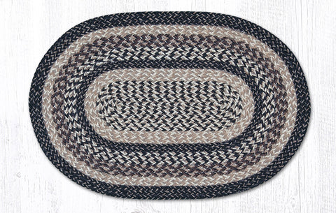 C-9-093 Black + Tan Braided Rug