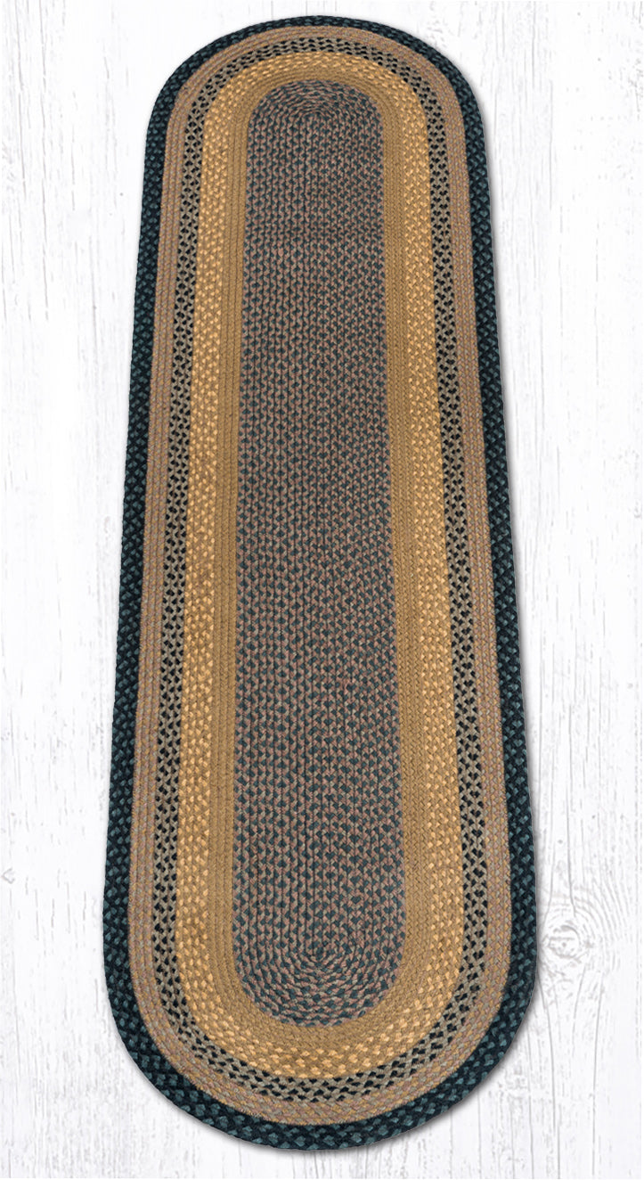 C-99 Brown/Black/Charcoal Oval Braided Rug 2'x8'