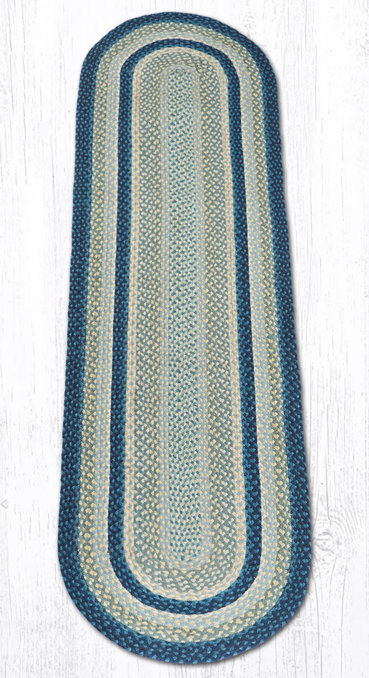 C-362 Breezy Blue/Taupe/Ivory Oval Braided Rug 2'x8'