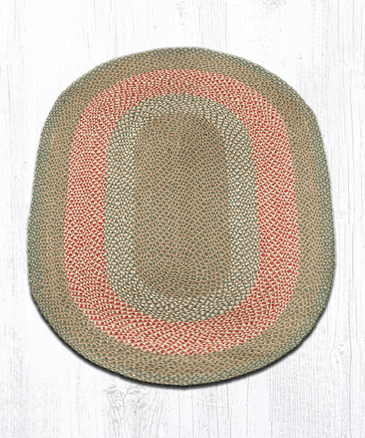 C-09 Green/Burgundy Oval Braided Rug 4'x6'