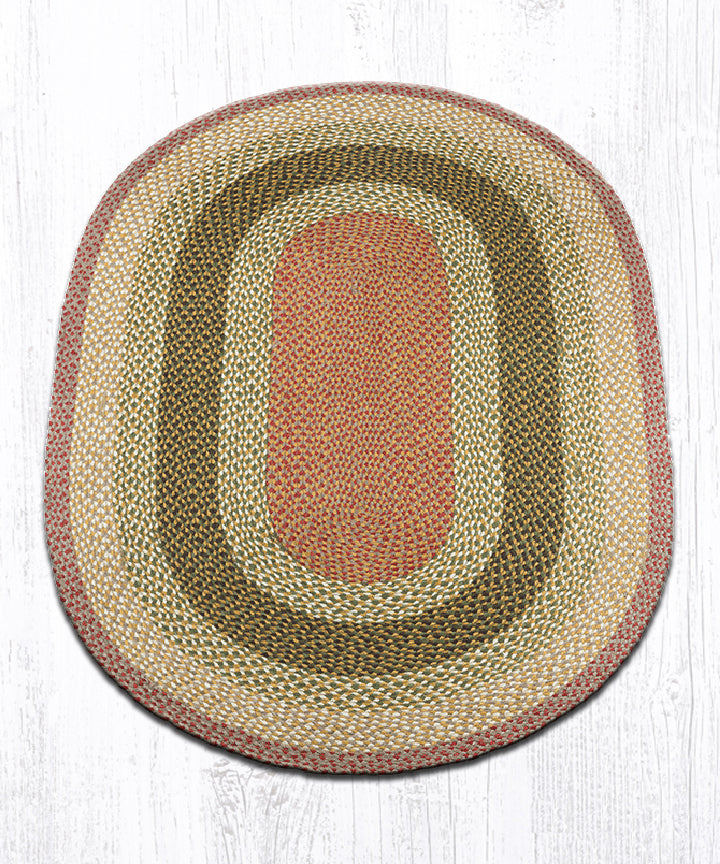 C-24 Olive/Burgundy/Gray Oval Braided Rug 4'x6'