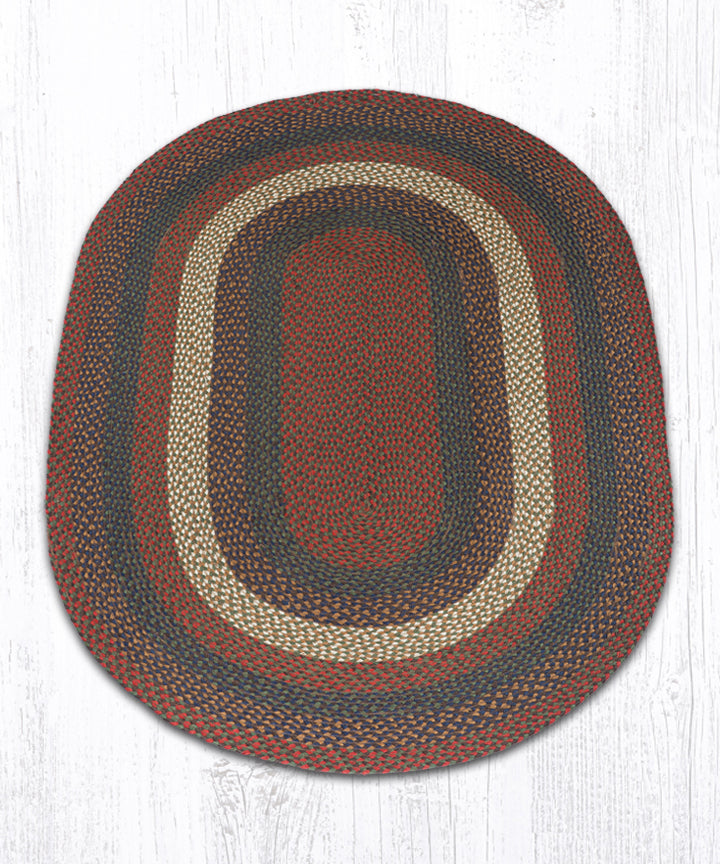 C-40 Burgundy/Gray Oval Braided Rug 4'x6'