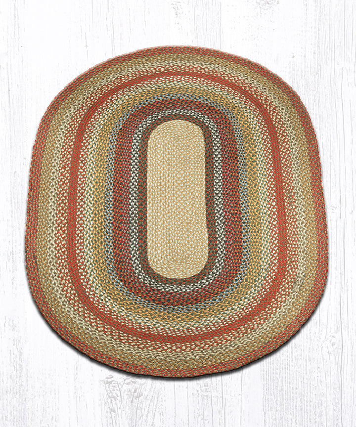 C-300 Honey/Vanilla/Ginger Oval Braided Rug 4'x6'