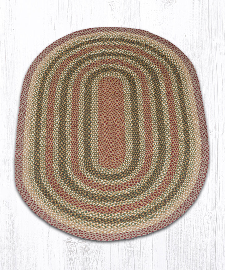 C-324 Olive/Burgundy/Gray Oval Braided Rug 4'x6'