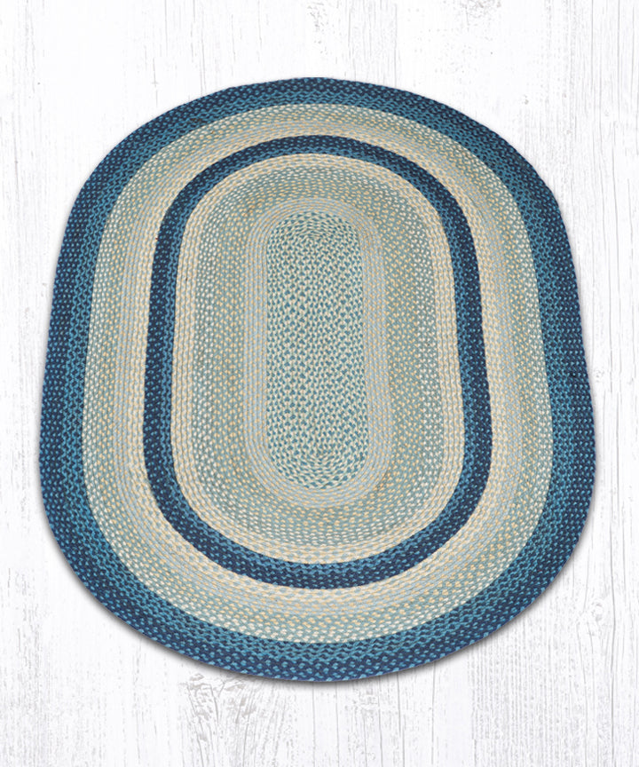 C-362 Breezy Blue/Taupe/Ivory Oval Braided Rug 4'x6'