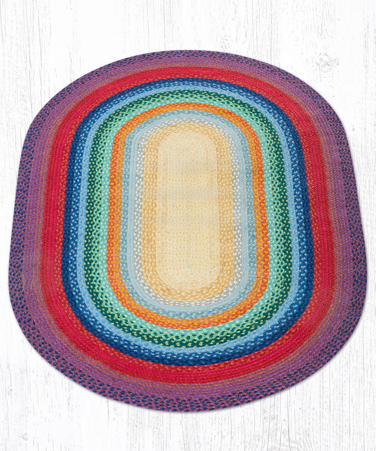 C-400 Rainbow 1 Oval Braided Rug 4'x6'