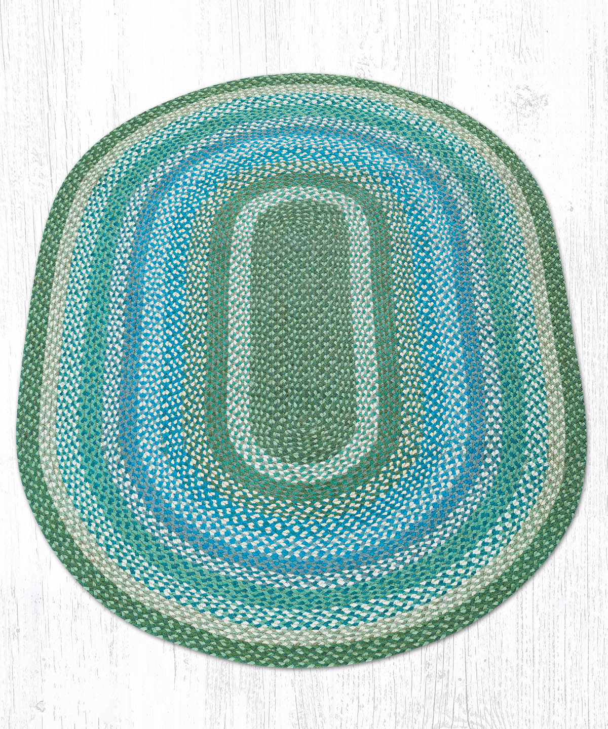 C-419 Sage/Ivory/Settlers Blue Oval Braided Rug 4'x6'