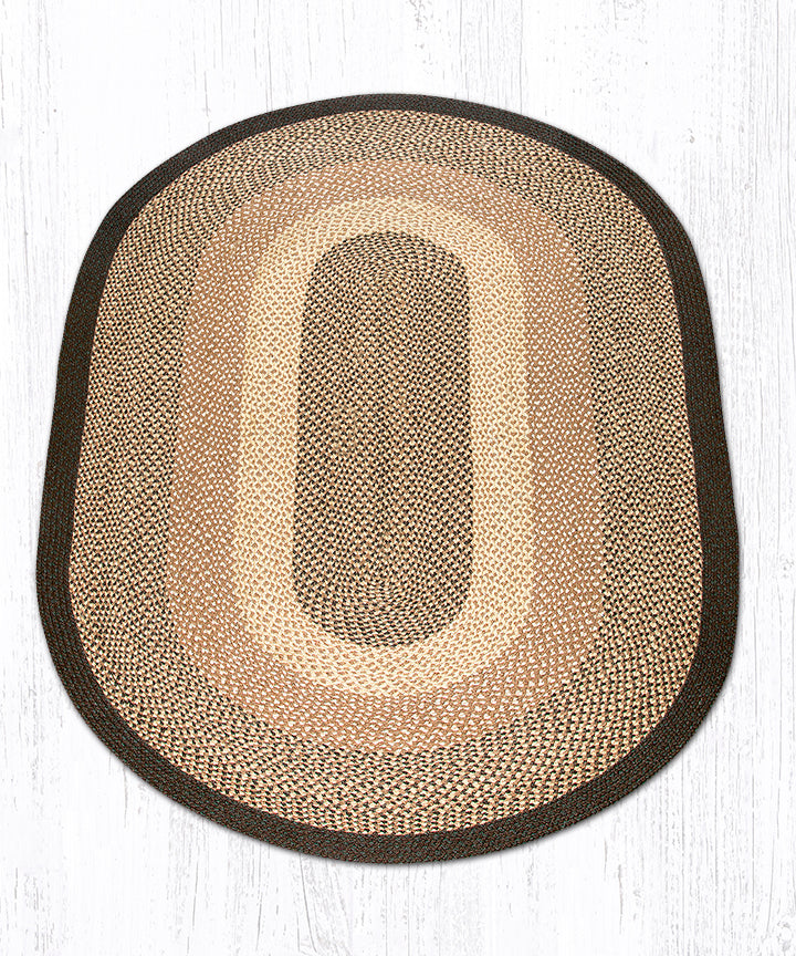 C-17 Chocolate/Natural Oval Braided Rug 5'x8'