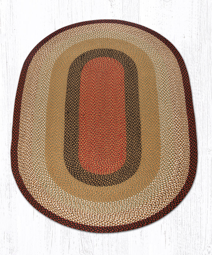 C-19 Burgundy/Mustard Oval Braided Rug 5'x8'