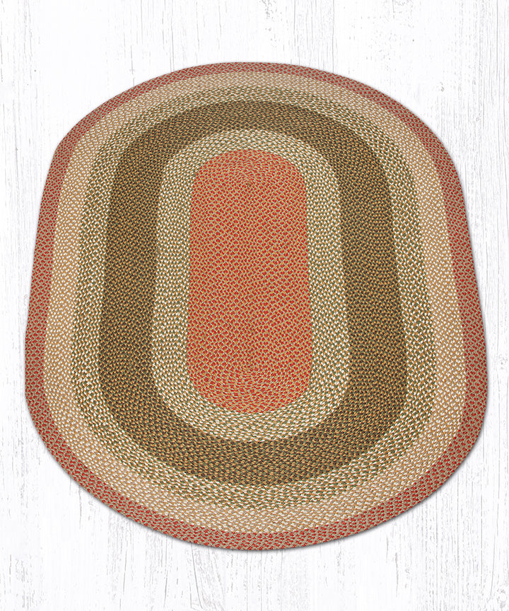 C-24 Olive/Burgundy/Gray Oval Braided Rug 5'x8'