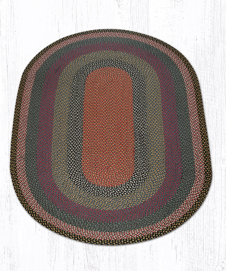 C-43 Burgundy/Blue/Gray Oval Braided Rug 5'x8'