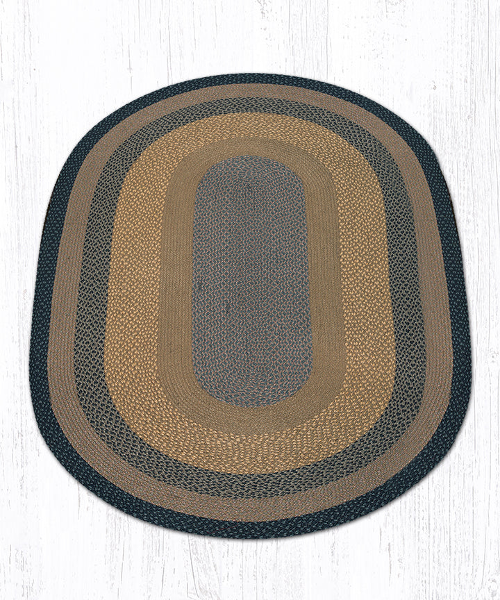 C-99 Brown/Black/Charcoal Oval Braided Rug 5'x8'
