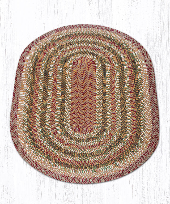 C-324 Olive/Burgundy/Gray Oval Braided Rug 5'x8'