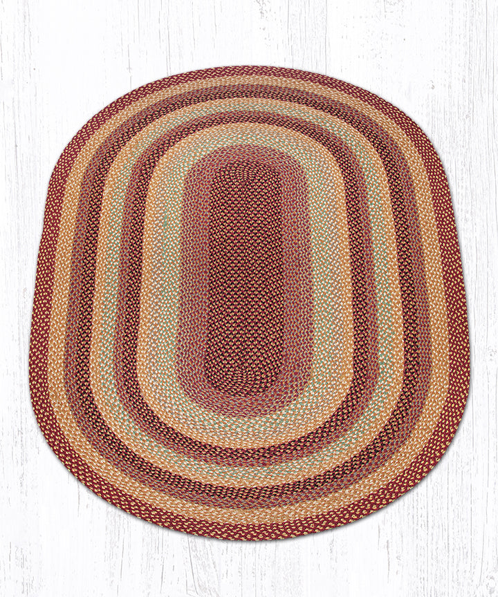 C-357 Burgundy/Gray/Cream Oval Braided Rug 5'x8'