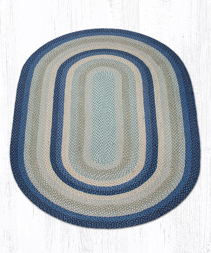 C-362 Breezy Blue/Taupe/Ivory Oval Braided Rug 5'x8'