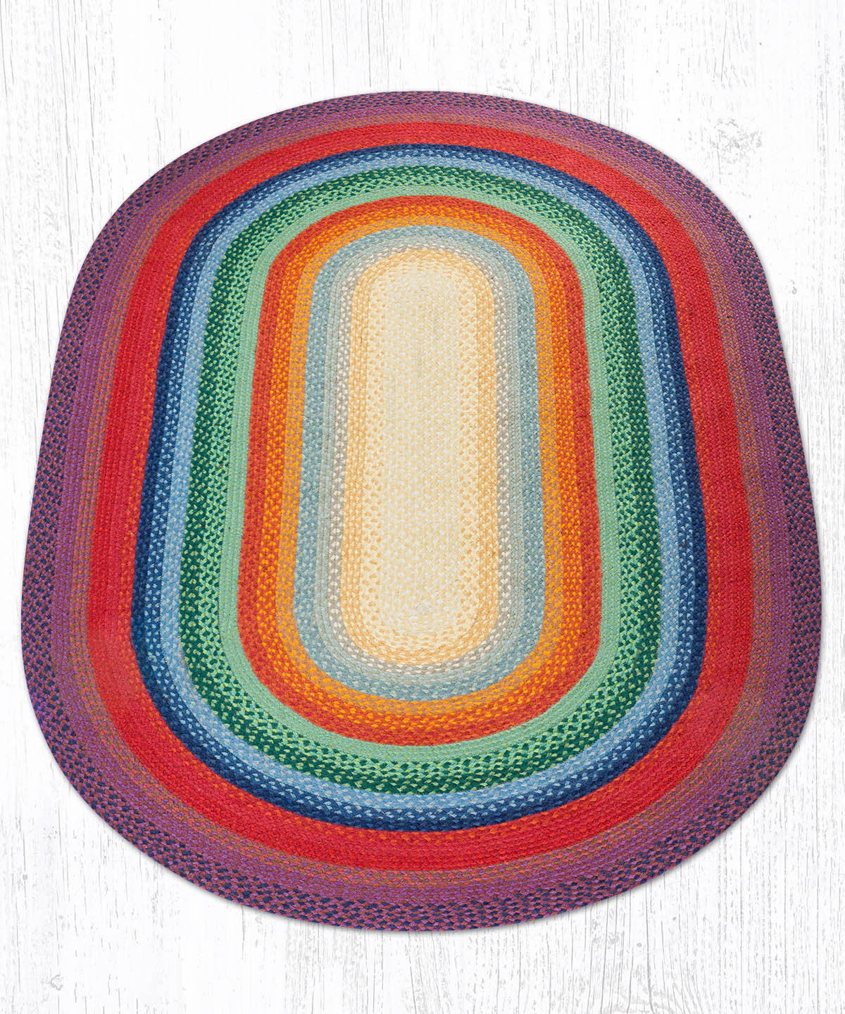 C-400 Rainbow 1 Oval Braided Rug 5'x8'