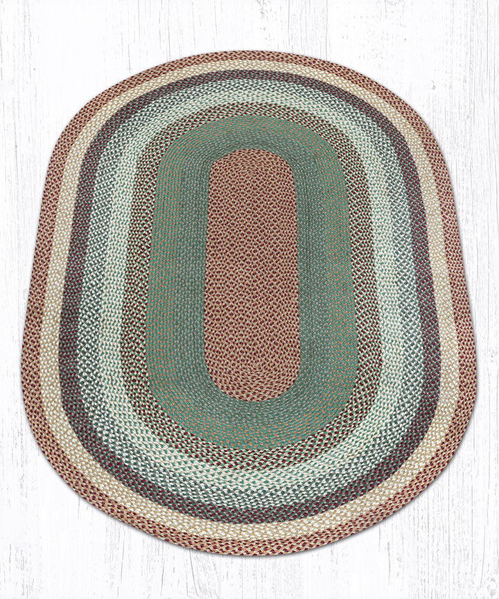 C-413 Buttermilk/Cranberry Oval Braided Rug 5'x8'