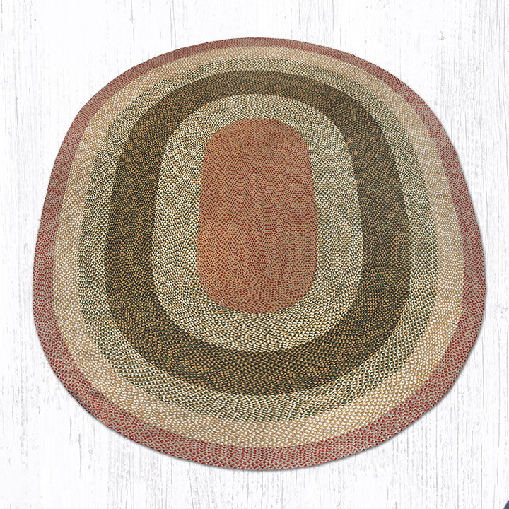 C-24 Olive/Burgundy/Gray Oval Braided Rug 8'x11'