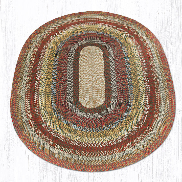 C-300 Honey/Vanilla/Ginger Oval Braided Rug 8'x11'