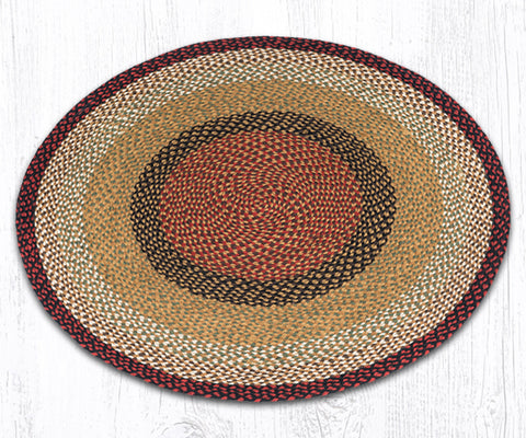 C-019 Burgundy/Mustard Braided Rug