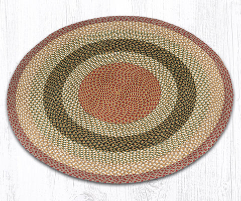 C-024 Olive/Burgundy/Gray Braided Rug - Round - Braided Rugs - Rounds Earth Rugs