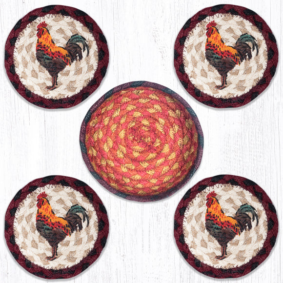 CNB-471 Rustic Rooster Coaster Set