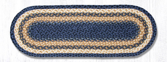 C-079 Lt & Dk Blue/Mustard Jute Table Runner