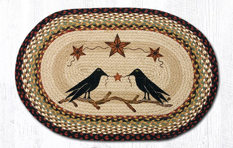 OP-019 Crow & Barn Stars Oval Patch Rug