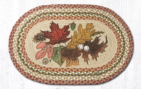 OP-024 Autumn Leaves Oval Patch Rug