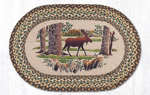 OP-051 Moose Forest Oval Patch Rug