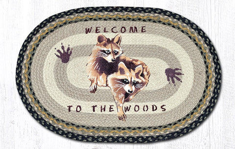 OP-116 Raccoon Welcome Oval Patch Rug