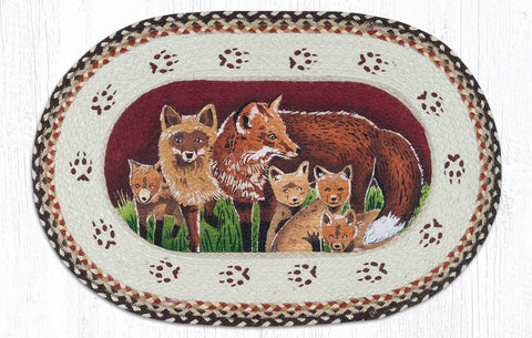 OP-129 Fox Family Oval Patch Rug