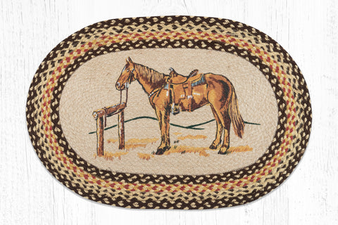 OP-129 Horse Oval Patch Rug