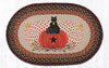 OP-222 Black Cat Pumpkin Oval Patch Rug