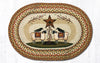 OP-300 Sheep & Barn Star Oval Patch Rug