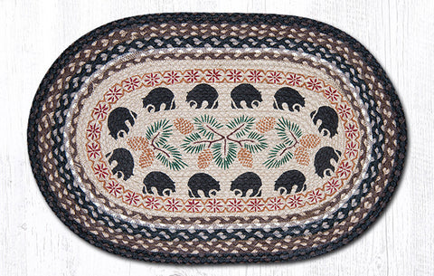 OP-313 Black Bears Oval Patch Rug