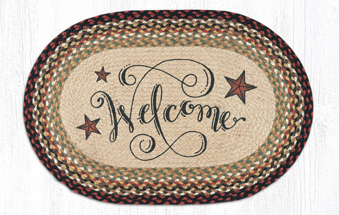 OP-319 Welcome Barn Stars Oval Patch Rug