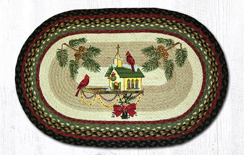 OP-338 Christmas Birdhouse Oval Patch Rug