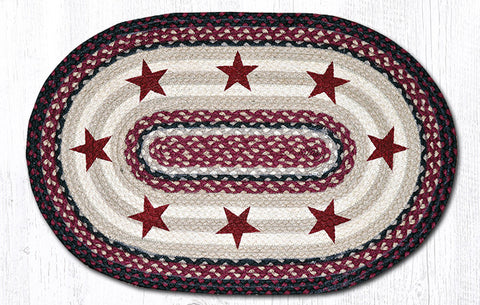 OP-344 Burgundy Stars Oval Patch Rug