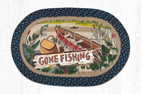 OP-355 Gone Fishing Oval Patch Rug