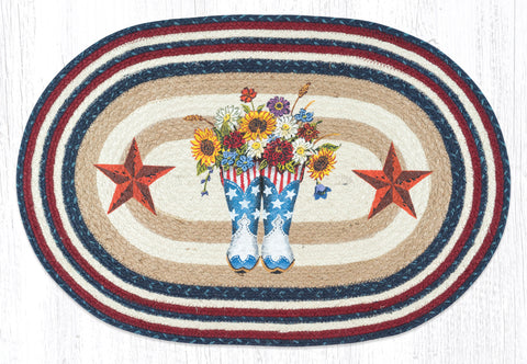 OP-565 American Boots with Barn Star Oval Patch Rug