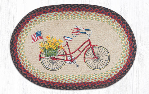 OP-574 Bicycle with Flag Oval Patch Rug