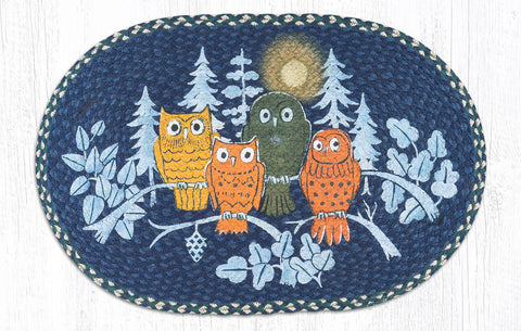 OP-582 Midnight Owls Oval Patch Rug