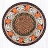 RP-222 Pumpkin Crow Round Patch Rug