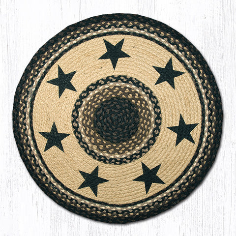 RP-313 Black Stars Round Patch Rug