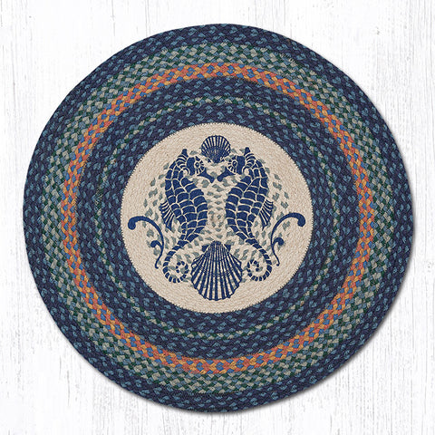 RP-453 Shell Coast Seahorse Round Patch Rug
