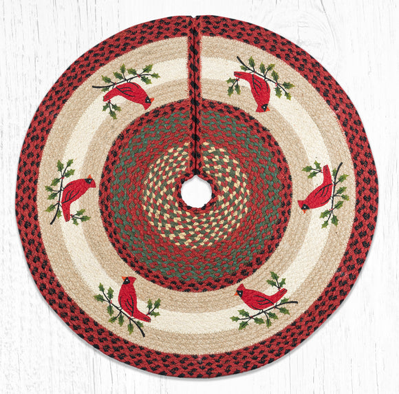 TSP-025 Holly Cardinal Tree Skirt