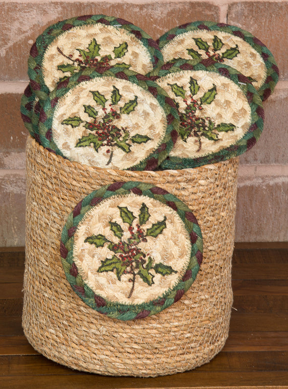 Basket of Coasters 508 Holly