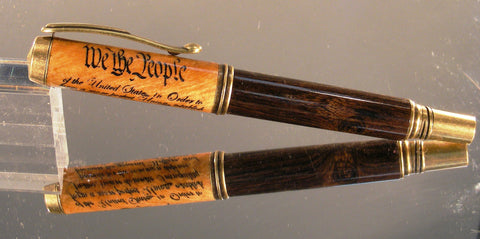 Elegant rollerball pen in maple and blackwood with antique brass hardware with Preamble - Fine Wood Pens