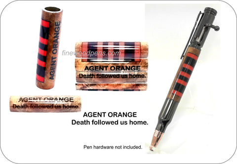 Agent Orange Ribbon - Fine Wood Pens